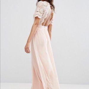 Asos Blush Pink Lace Maxi Dress